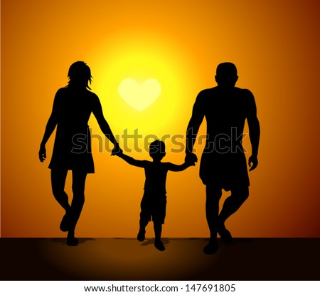 Family silhouette mother father child at sunset. The sun in the form of heart. Vector - stock vector