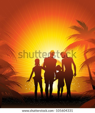 family silhouette on the beach  (also available  jpg version)