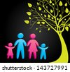 family silhouettes over black background vector illustration - stock