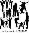 Family Silhouettes - vector - stock vector
