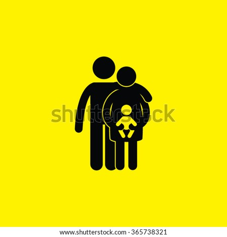 Family Single Icon. Family with baby. - stock vector