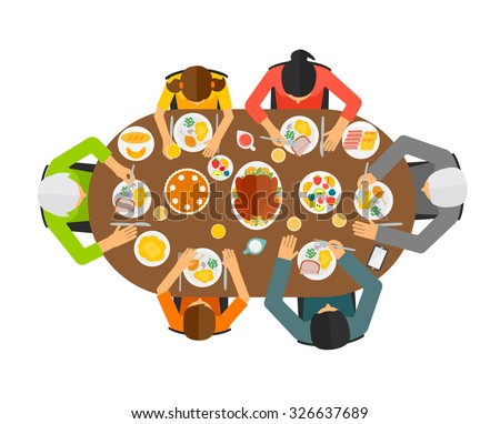 Family sitting at dining table, top view. Big family eating festive dinner, vector illustration	 - stock vector