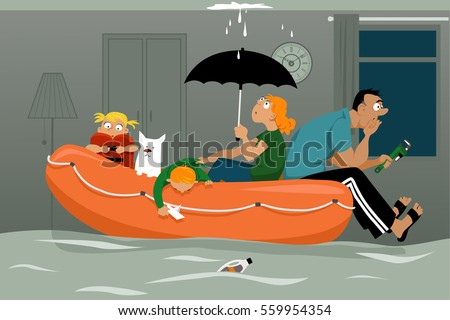Family Sitting Inflatable Boat Flooded Living Stock Vector