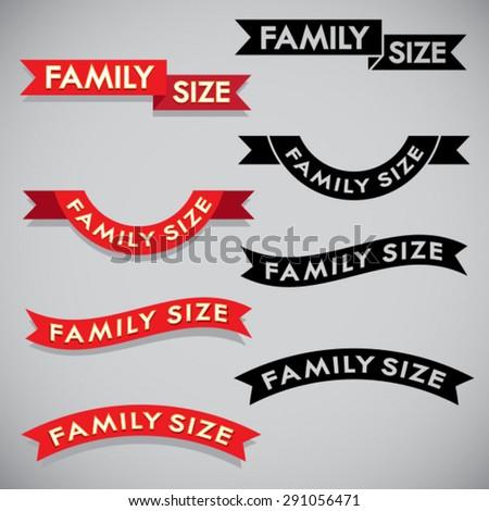 Family Size Ribbon Set  - stock vector