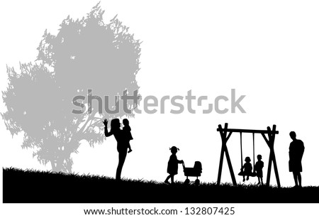 Family spends time at a party in the park - stock vector