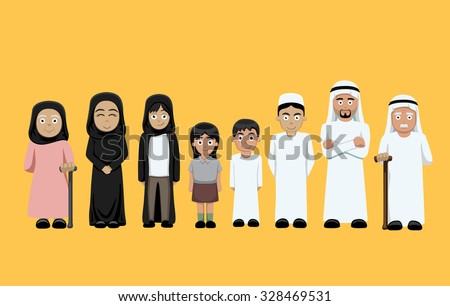 Family Standing Cartoon Vector Illustration 4 (Arab) - stock vector