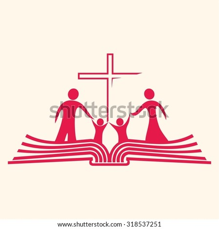 Family standing on pages of a Bible and cross icon - stock vector