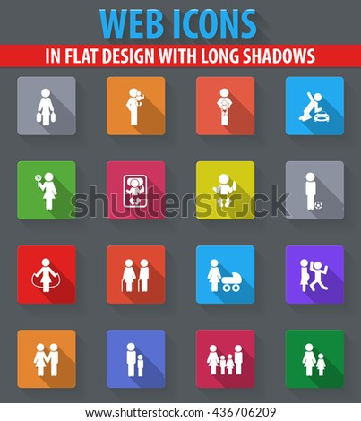 Family stickers web icons in flat design with long shadows