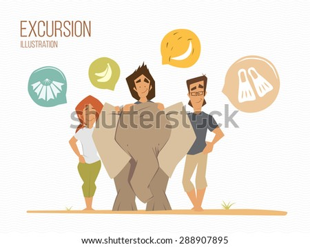 Family summer vacation illustration. Happy family make a photo with a cute little baby elephant. - stock vector
