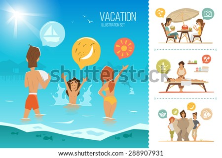 Family summer vacation illustration set. Happy mother, father and his child kid, playing on the beach. - stock vector
