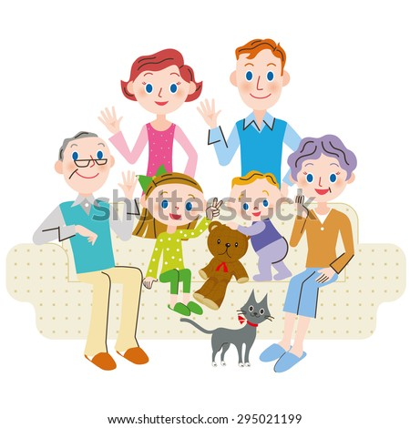 Family three generations gather for a sofa - stock vector
