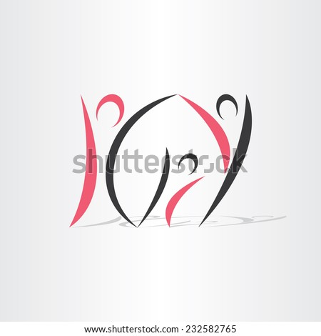 family together mother father son letters k y - stock vector