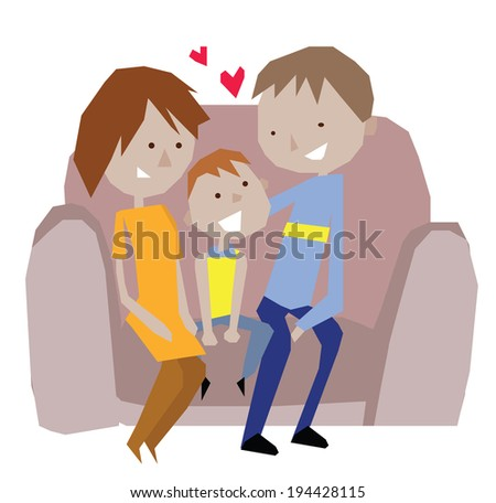 Family Together on Sofa Happy Vector Illustration - stock vector