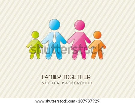 family together over vintage background. vector illustration - stock vector
