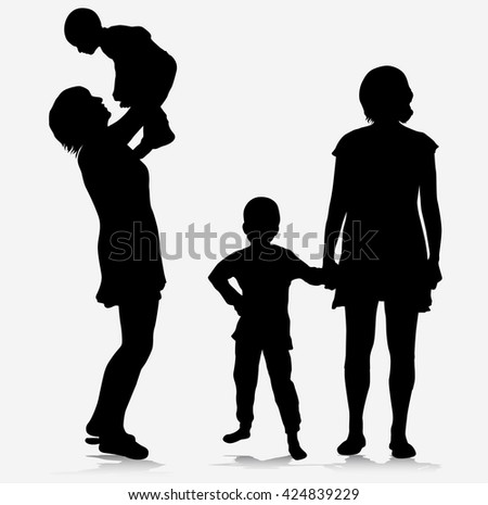 family together silhouettes