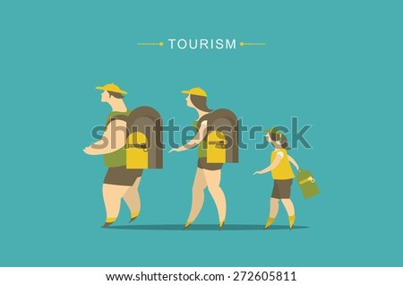 family tourism, young people and family child with a backpack in a campaign - stock vector