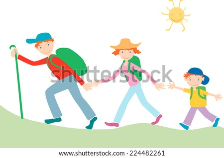 family tourists - stock vector