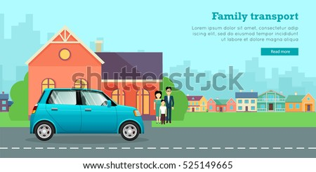 Family transport banner. Couple with child standing near house and mini car flat vector illustrations. Buying new car for family needs. Economic small car. For car dealer, shop landing page design