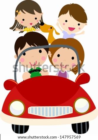 family travel - stock vector