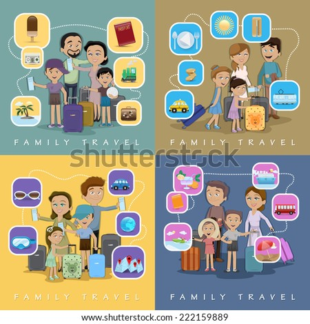 Family Travel Against Color Background - Vector Illustration, Graphic Design Editable For Your Design - stock vector