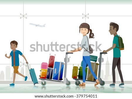family travelers Traveling abroad .He was dragging luggage to the airport. - stock vector
