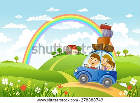 Family traveling in the car to a lovely house, vector illustration - stock vector