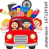 Family traveling with car - stock vector