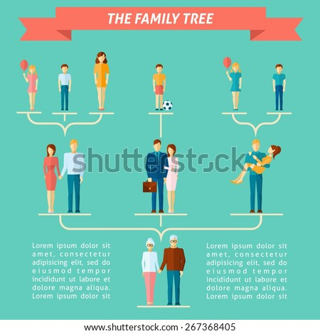 Family tree concept with people of different generations flat vector illustration - stock vector