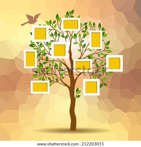 Family tree design, insert your photos into frames - stock vector
