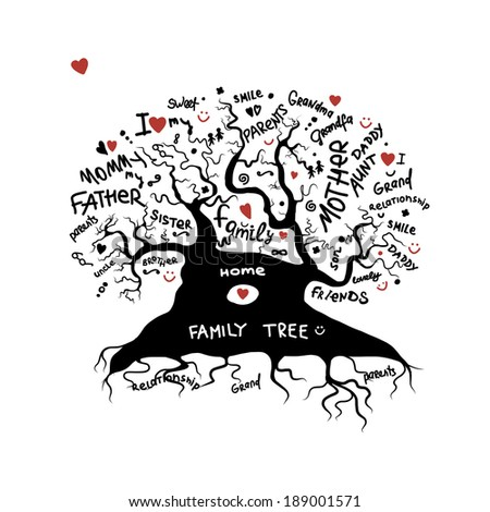 Family tree sketch for your design - stock vector