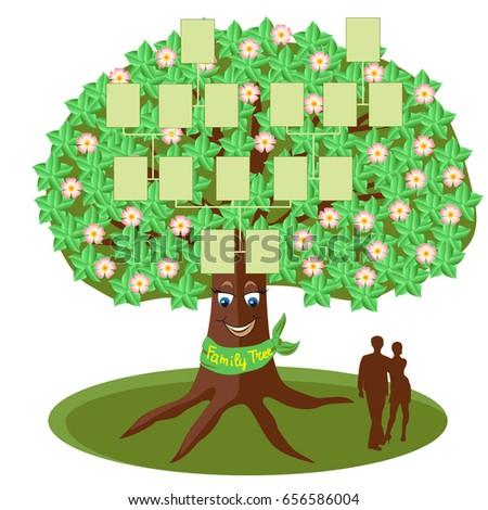 Family Tree Template Empty Frames Photos Stock Vector 656586004