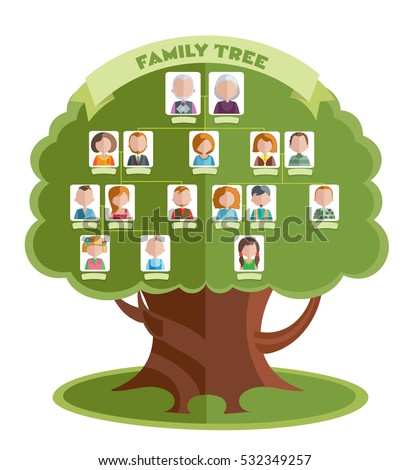 Family Tree Template Portraits Relatives Place Stock Vector ...
