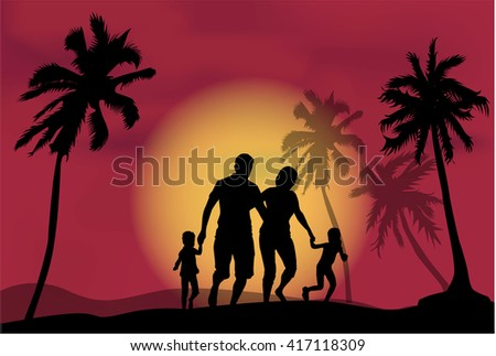 Family under the palm trees.