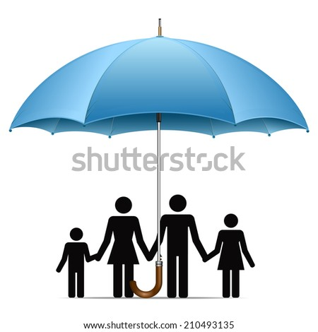 Family under umbrella - stock vector