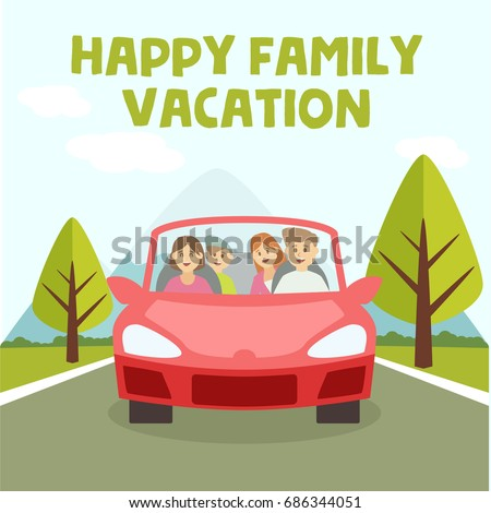 Family Vacation And Trip Together On A Car