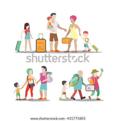 Family vacation set. Man woman children going have fun interesting holidays illustration. Travelling tourism life style collection. - stock vector