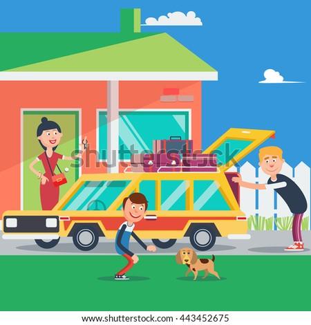 Family Vacation. Summer Trip by Car. Vector illustration - stock vector