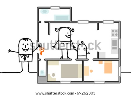 family visiting a new home - stock vector