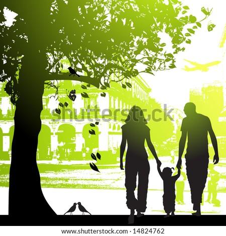 Family walk in the city park - stock vector