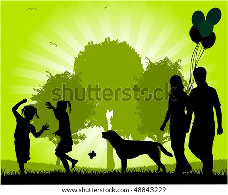 Family walk in the park - stock vector