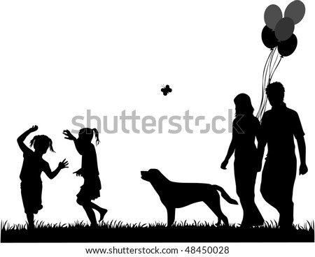family walk the dog, the illustration of vectors - stock vector