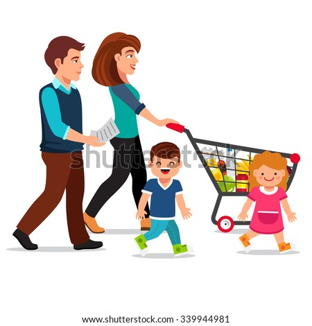Family walking with shopping cart full of groceries. Young parents, mother and father with their son and daughter. Flat style vector illustration isolated on white background.