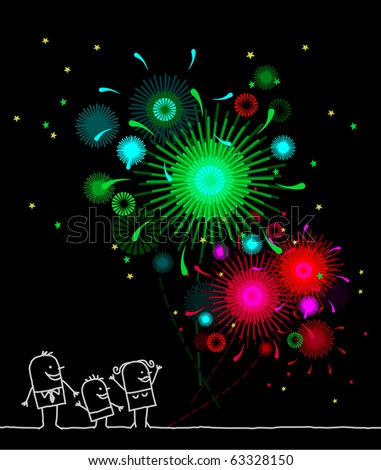 family watching green & red fireworks - stock vector