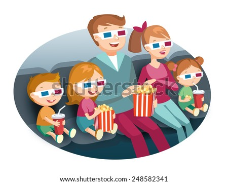 family watching movie - stock vector