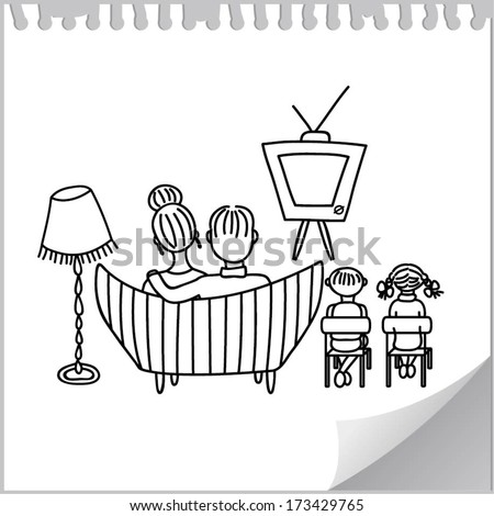 Family watching retro TV (cartoon doodle)