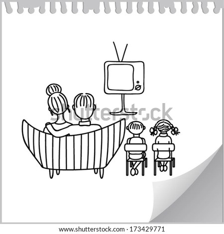 Family watching retro TV (cartoon doodle) - stock vector