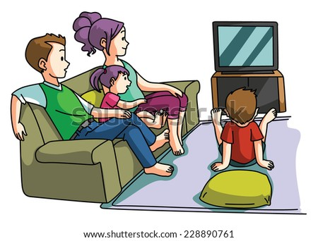 Family watching tv time - stock vector