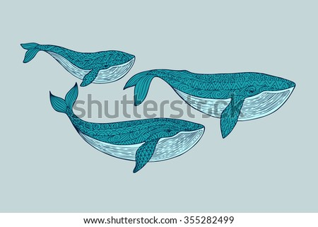 Family whales. Mom, dad and baby whales swimming in the pack. Patterned blue whale silhouette on a blue background. Zentangle stylized set sea animals. Hand Drawn aquatic doodle vector illustration.  - stock vector