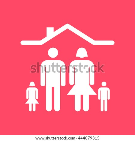 Family white icon on magenta color background. Eps-10. - stock vector