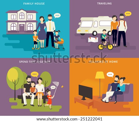 Family with children concept flat icons set of house, traveling, spending time together, watching tv